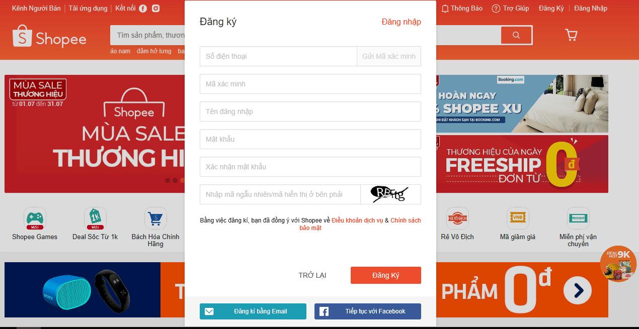Cách đăng ký tài khoản Shopee