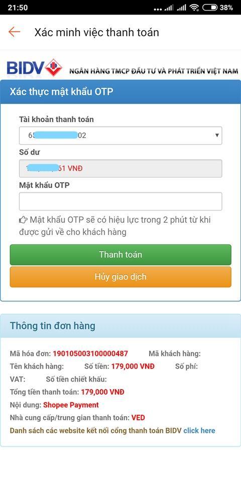 Hình thức thanh toán internet banking trên Shopee