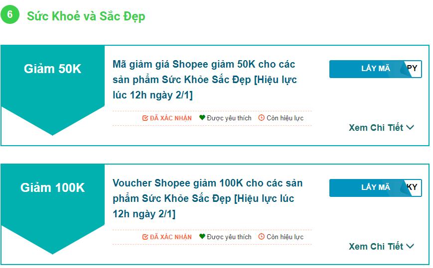 Mã giảm giá khi mua mỹ phẩm trên Shopee