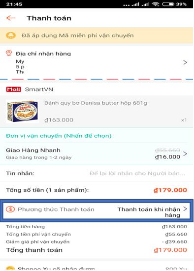 Thanh toán bằng ngân hàng trực tuyến iBanking trên Shopee