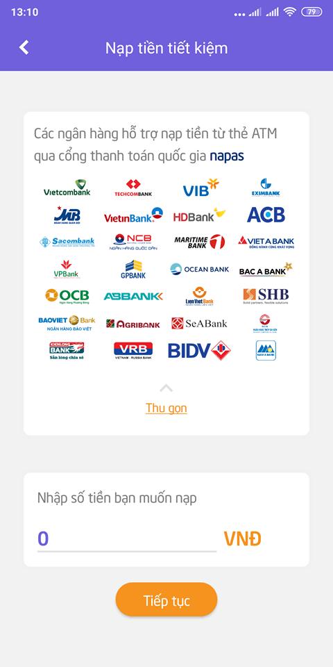 Chọn ngân hàng để nạp tiền vào gói tiết kiệm trên Savy