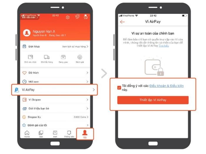 Hướng dẫn kích hoạt ví điện tử airpay trên Shopee
