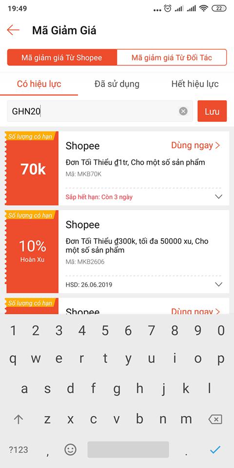 Nhập mã giảm giá Shopee để lưu vào ví voucher