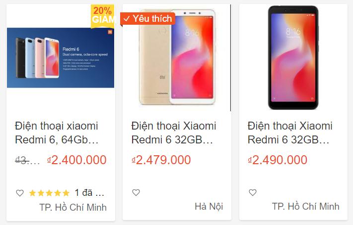 Giá sản phẩm xiaomi trên shopee
