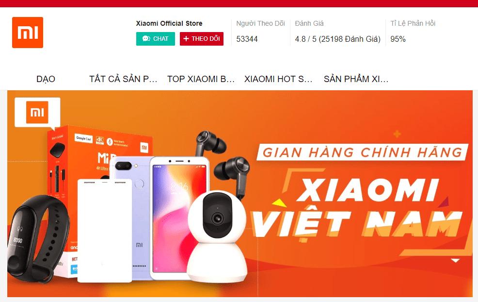 Gian hàng xiaomi chính hãng official store trên shopee
