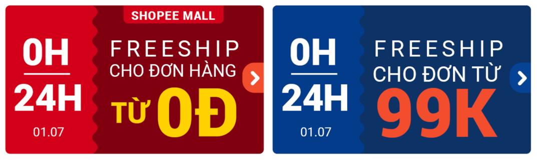Shopee miễn phí vận chuyển cho đơn hàng từ 0Đ trong mùa sale thương hiệu