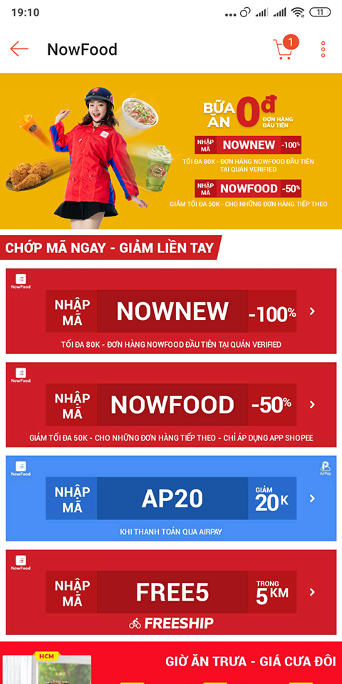 Đặt đồ ăn now qua shopee giảm 100k