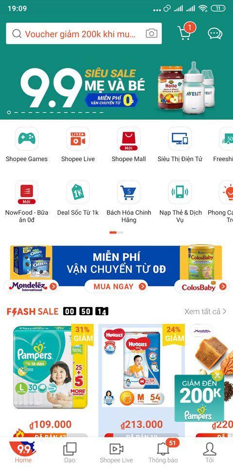 NOW giảm 100% khi mua đồ ăn qua Shopee