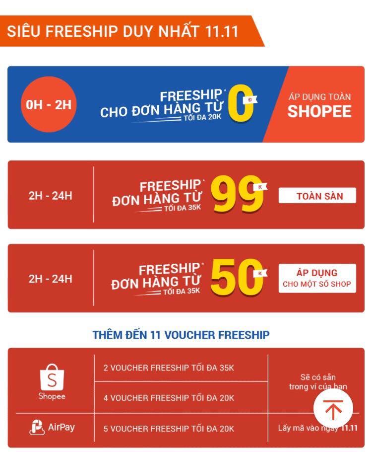 Lịch miễn phí vận chuyển shopee