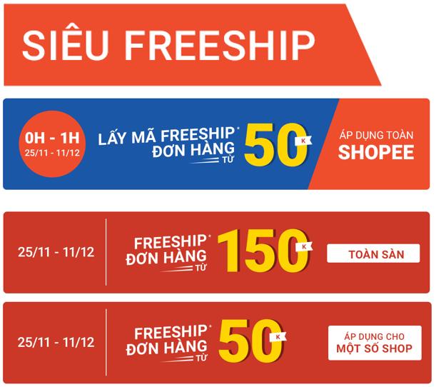 Shopee miễn phí vận chuyển 12.12