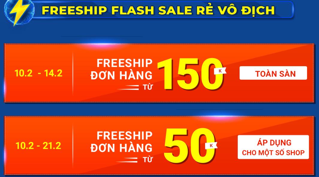 Shopee miễn phí vận chuyển Flash Sale Rẻ Vô địch