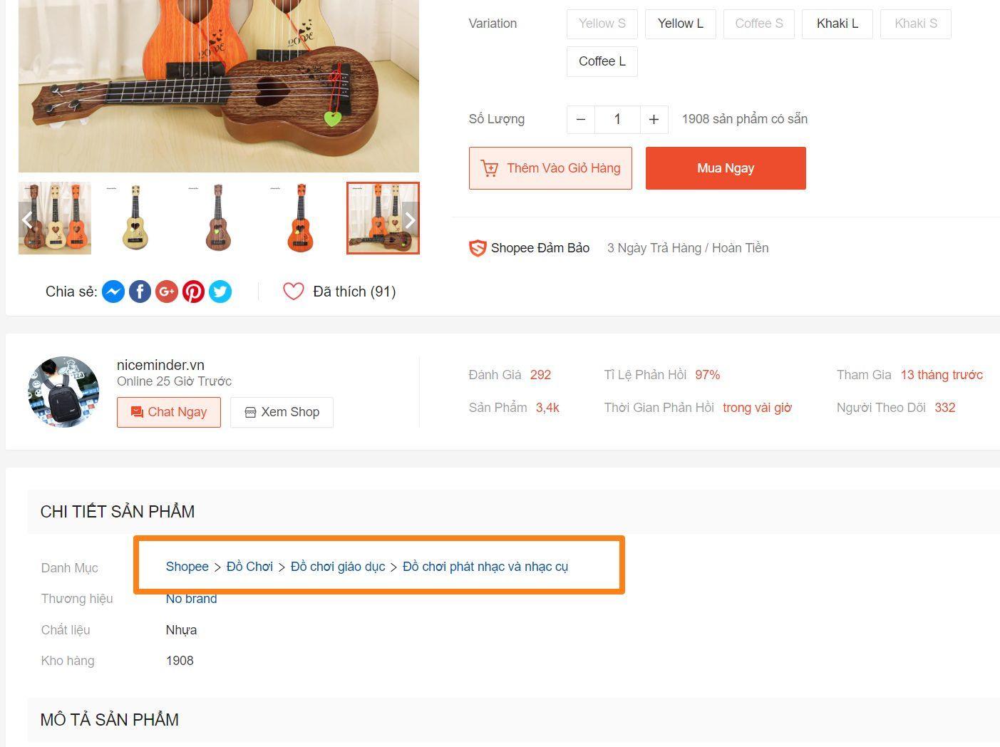 Cách xem danh mục ngành hàng của sản phẩm trên Shopee