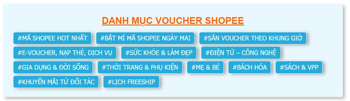 Danh mục mã voucher Shopee săn theo khung giờ