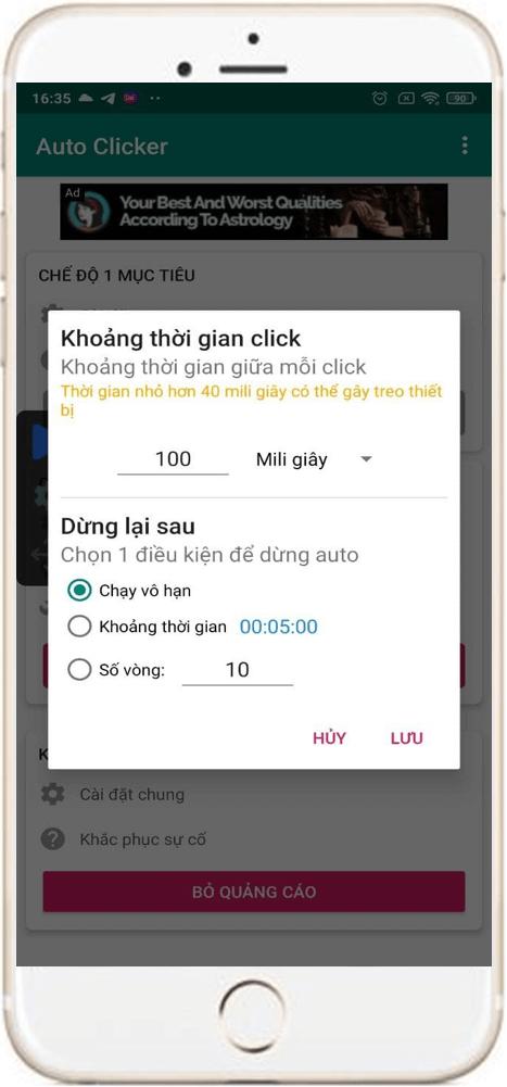 Hướng dẫn thiết lập auto click 1 điểm trên điện thoại