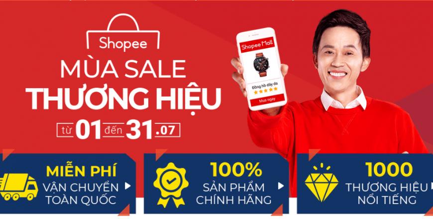 Chương trình khuyến mãi Mùa Sale Thương Hiệu trên Shopee