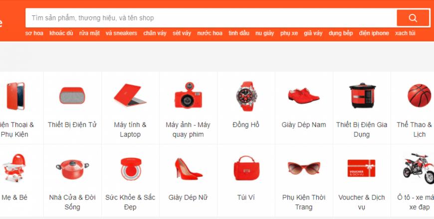 Danh mục để tìm kiếm sản phẩm khi mua hàng trên Shopee.